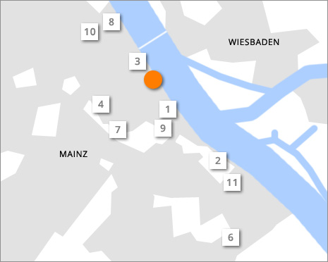 Hotelstandorte in Mainz